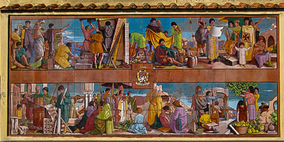 A ceramic mural depicting scenes from Amalfi history (located near the tourist office)