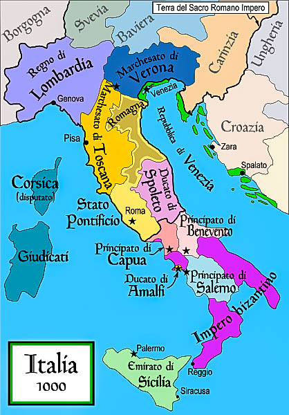 Italy in the year 1000. Note the size of the Amalfi Ducate. (Photo by MapMaker)