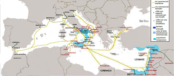 Amalfi trade routes and ports under its control at the 12th century apex of its power.