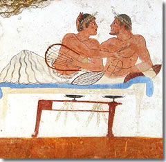Two Greek lovers canoodling during a symposium, from the Tomb of the Diver frescoes at Paestum.