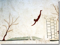The Tomb of the Diver fresco at Paestum.