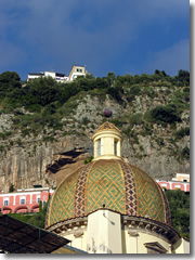 The dome of Positano's church of Santa Maria Assunta
