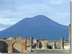 Vesuvio still menaces the ruins of Pompeii.