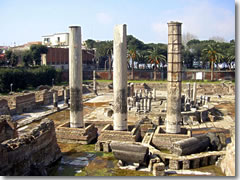 The tempio di Serapide in Pozzuoli, near Naples, in the Camp Flegrei of Campania