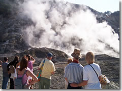 Visiting the smoking crater of Solfatara volcano near Naples