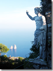 The view from atop Monte Solaro, Capri. The statue is Emperor Augustus. (Photo © 2009, Pilise Gábor.)