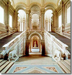 the grand staircase inside the Palazzo Reale di Caserta