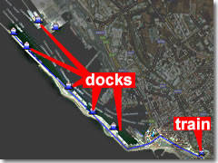 A map of the Civitavecchia cruise ship terminal in relation to the train station