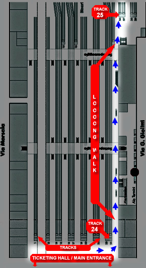 A map of Rome's Termini train station showing how to get to the airport train