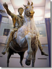 The equestrain statue of Marco Aurelio in the Capitoline Museums of Rome