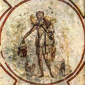 Christ as the Good Shepherd fresco in the Catacombs of St. Calixtus