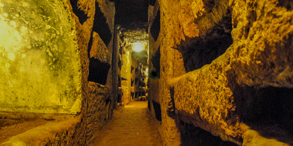 The Catacombs of St. Calixtus in Rome, Italy