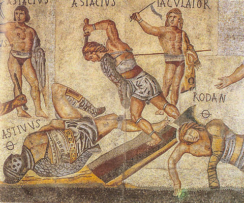 Detail of Gladiator mosaic from the AD 4th century in the Galleria Borghese, Rome