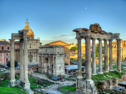 Roman Forum: Arch of Septium Severus and temples