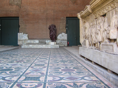 The opus sectile floor inside the Curia Iulia, where the Roman senate met