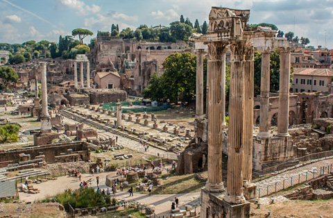 The western half of the Foro Romano in Rome