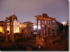 The Forum at night from the back of Piazza del Campidolgio