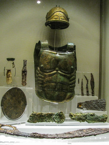 Armor and weapons found in a 5th century BC tomb in Lanuvium, near Rome, Baths of Diocletian complex, Museo Nazionale Romano, Rome