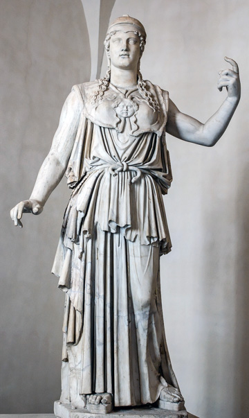 The statue of Athena of the Parthenon, signed by Antiochos (1st century BC), copied from the original by Phidias (5th century BC) in Rome's Museo Nazionale Romano - Palazzo Altemps