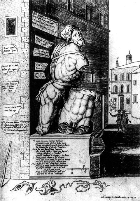 A 16th century engraving of Pasquino, the most famous statua parlante (talking statue) of Rome