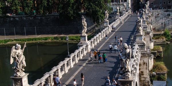 Rome's Ponte Sant'Angelo, lined by Bernini statues