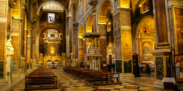 The interior of the church of Sant'Agostino, Rome