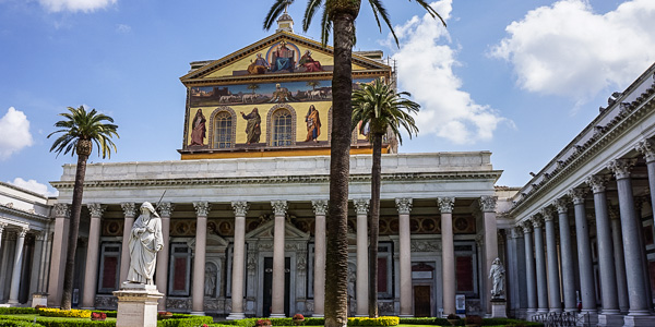 The church of San Paolo Fuori Le Mura (St. Paul Without the Walls) in Rome
