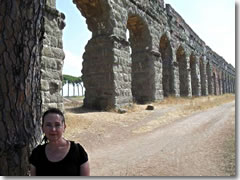 surviving ancient Roman aquaduct near the Appian Way