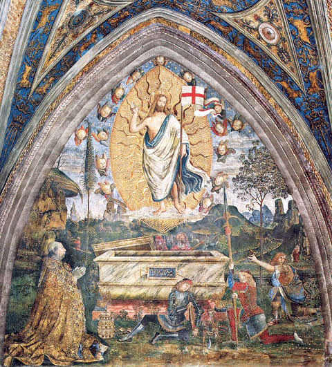 Resurrection (1494) by Pinturiccio in the Borgia Apartments of the Vatican