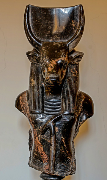 Apis, a bull-headed Egytpian god, from the Ptolemaic Period (3rd–2nd centuries BC), Museo Gregorio-Egizio, Vatican Museums, Rome, Italy. (Photo by Jastrow)