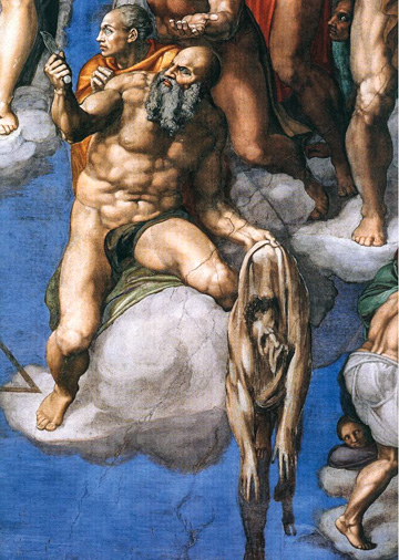 Michelangelo's self-portraits in the flayed skin of St. Bartholomew in the Last Judgement in the Sistine Chapel.