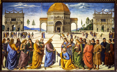 Perugino's Christ Handing the Keys to St .Peter on the Sistine Chapel wall