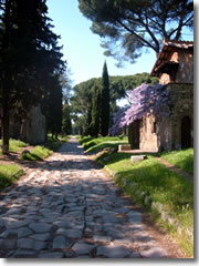 The Via Appia Antica, or Ancient Appian way, leading south from Rome