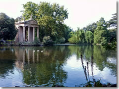 The Tempietto of Asclepio on the Laghetto in Rome's Villa Borghese Gardens park
