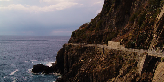 The Via dell'Amore trail along the Cinque Terre in Liguria, Italy