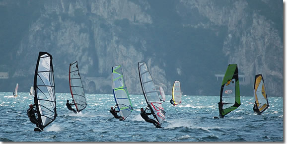 Sail boarding on Lake Garda near Riva del Garda and Torbole