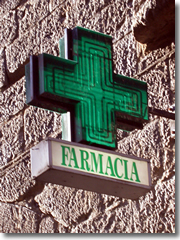 A farmacia (pharmacy or chemists) in Italy is always marked by a glowing green cross sign.
