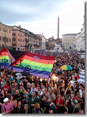 A gay rally in Piazza Navona