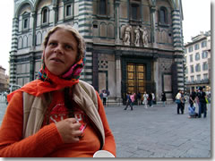 A gypsy begging outside the baptistery in Florence