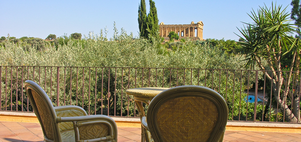 Agrigento's Hotel Villa Athena has rooms with a view of the Temple of Concordia