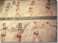 An ancient Roman mosaic of women exercising