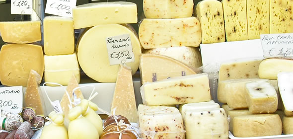 Cheeses at the daily market in Siracusa