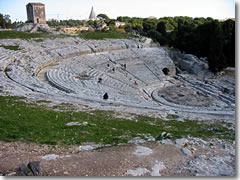 The Teatro Greco at Siracus'a Archeological Park Neapolis.