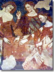 A medieval fresco of women shooting dice in the Castello di Arco
