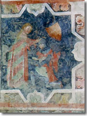 A medieval fresco of the investiture of a knight in the Castello di Arco