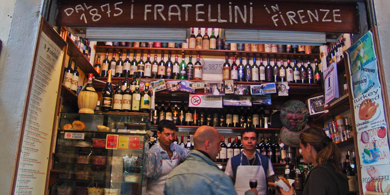 Fiaschetteria I Fratellini wine bar in Florence, Italy. (Photo by Reid Bramblett)