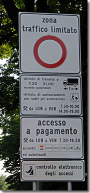 A sign showing the Zona Traffico Limitato signs in Florence