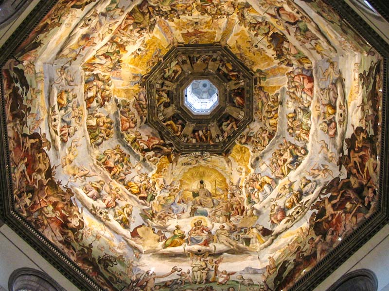 The frescoes inside the dome of the Florence Duomo (Cathedral)