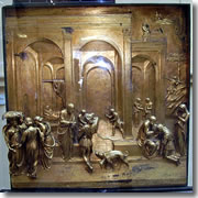 Esau and Jacob, a scene from the Gates of Paradise on Florence's baptistry, now on display at the Museo dell'Opera del Duomo