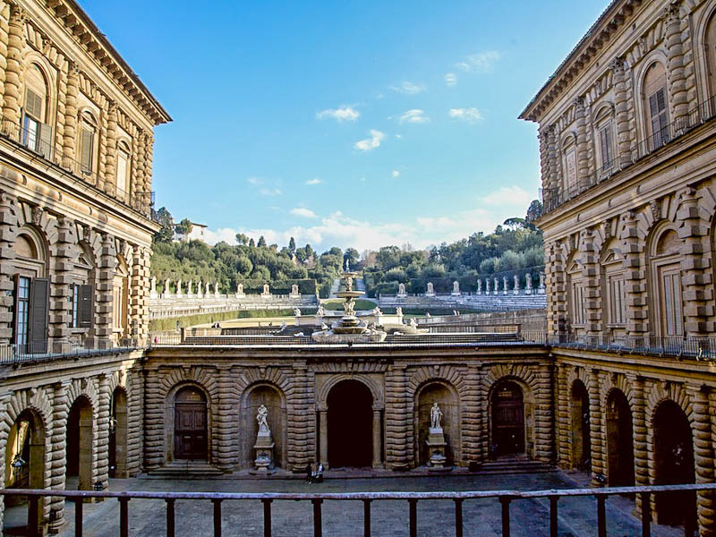 Ammanati's back courtyard of the Pitti Palace with the Boboli Gardens beyond. (Photo by George Grinsted)